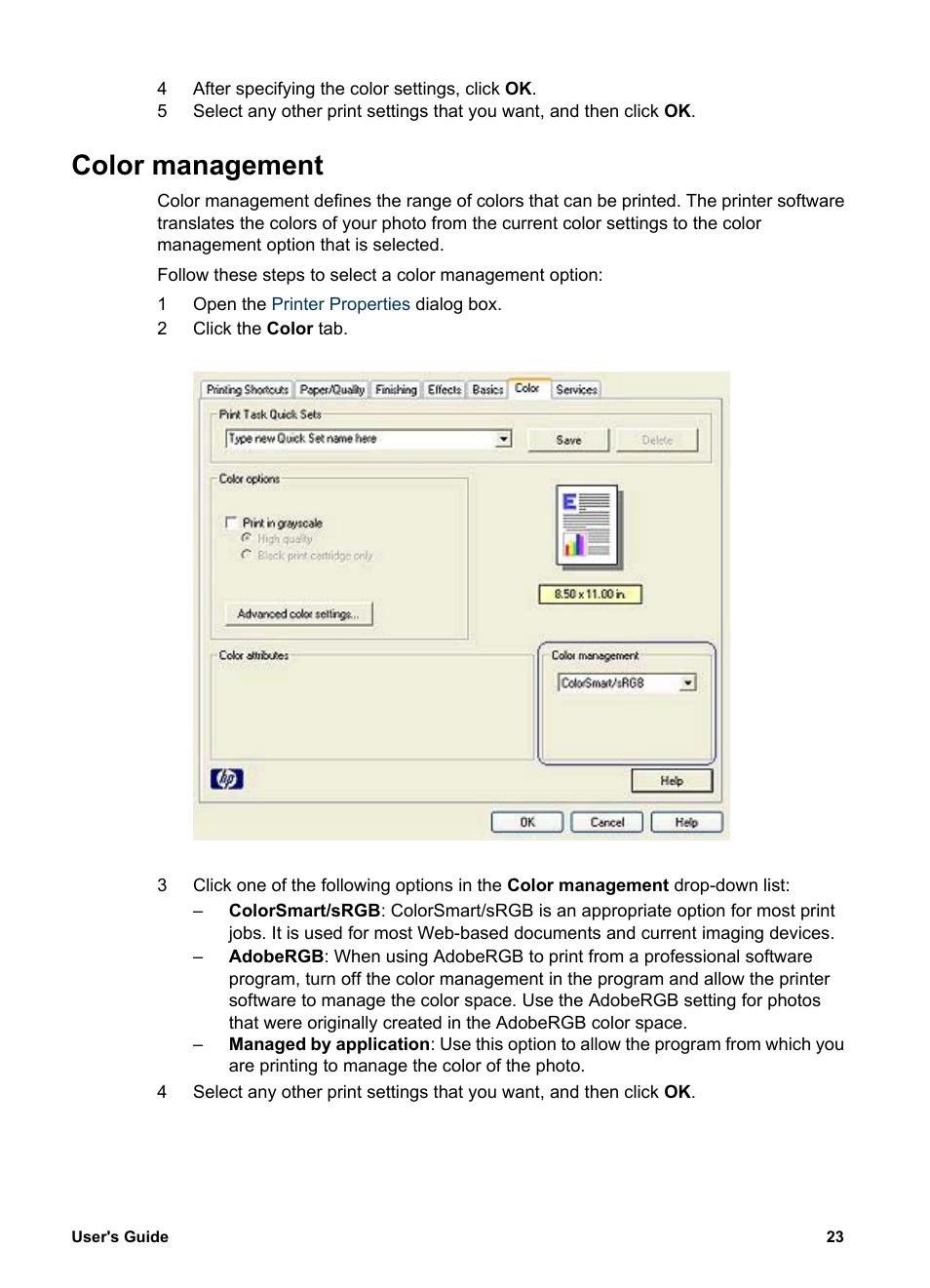 Color management | HP Deskjet 5740 Color Inkjet Printer User