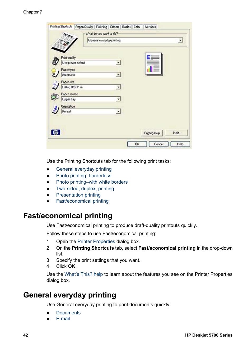 fast economical printing general everyday printing fast economical rh manualsdir com HP Deskjet 5740 HP 5700 Desktop