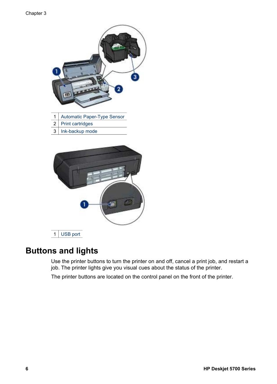 Buttons And Lights Hp Deskjet 5740 Color Inkjet Printer