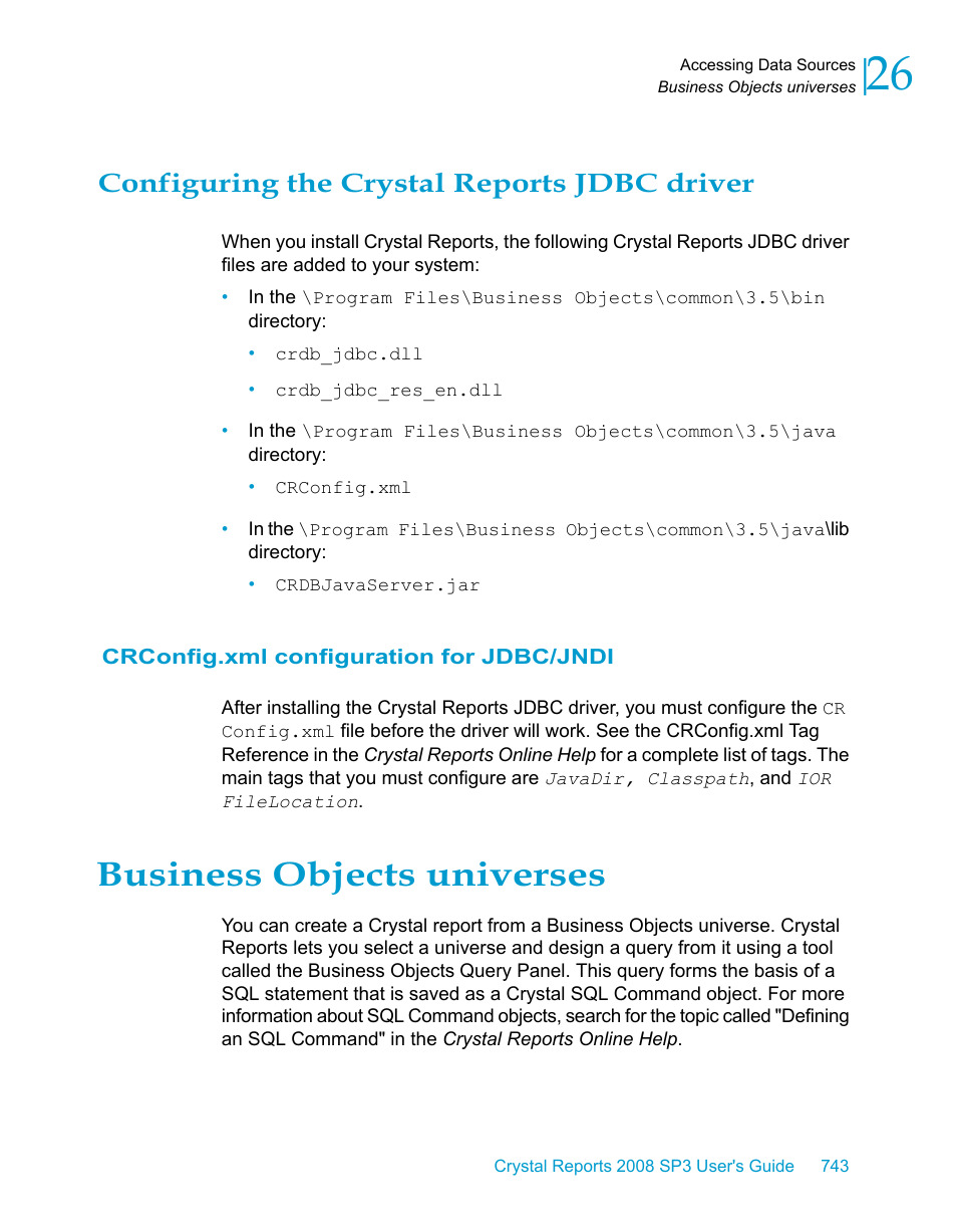Configuring the crystal reports jdbc driver, Crconfig xml