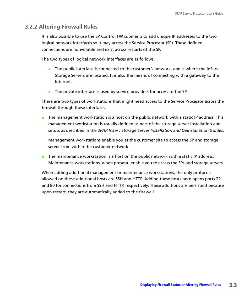 2 altering firewall rules, Altering firewall rules | HP 3PAR