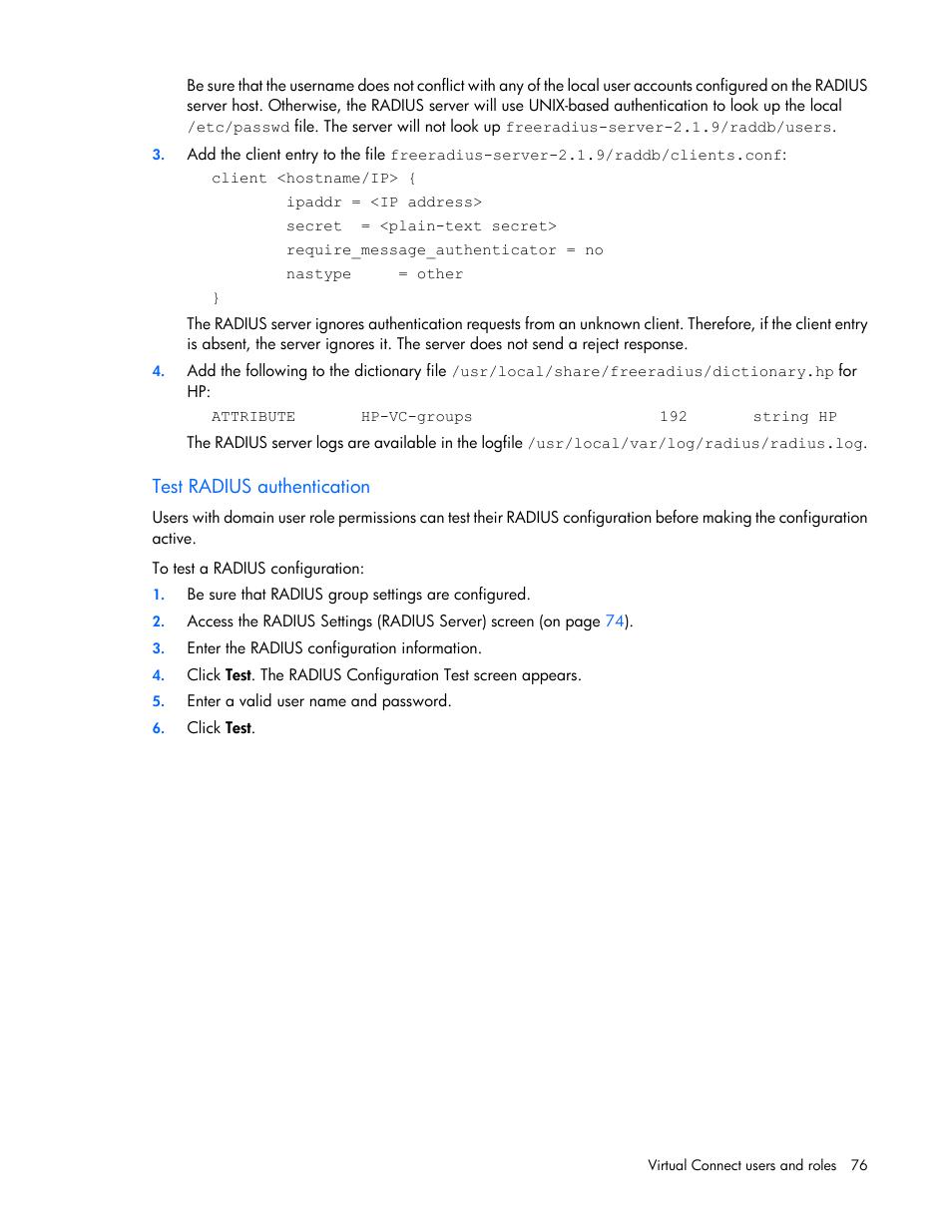 Test radius authentication | HP Virtual Connect 8Gb 20-port Fibre
