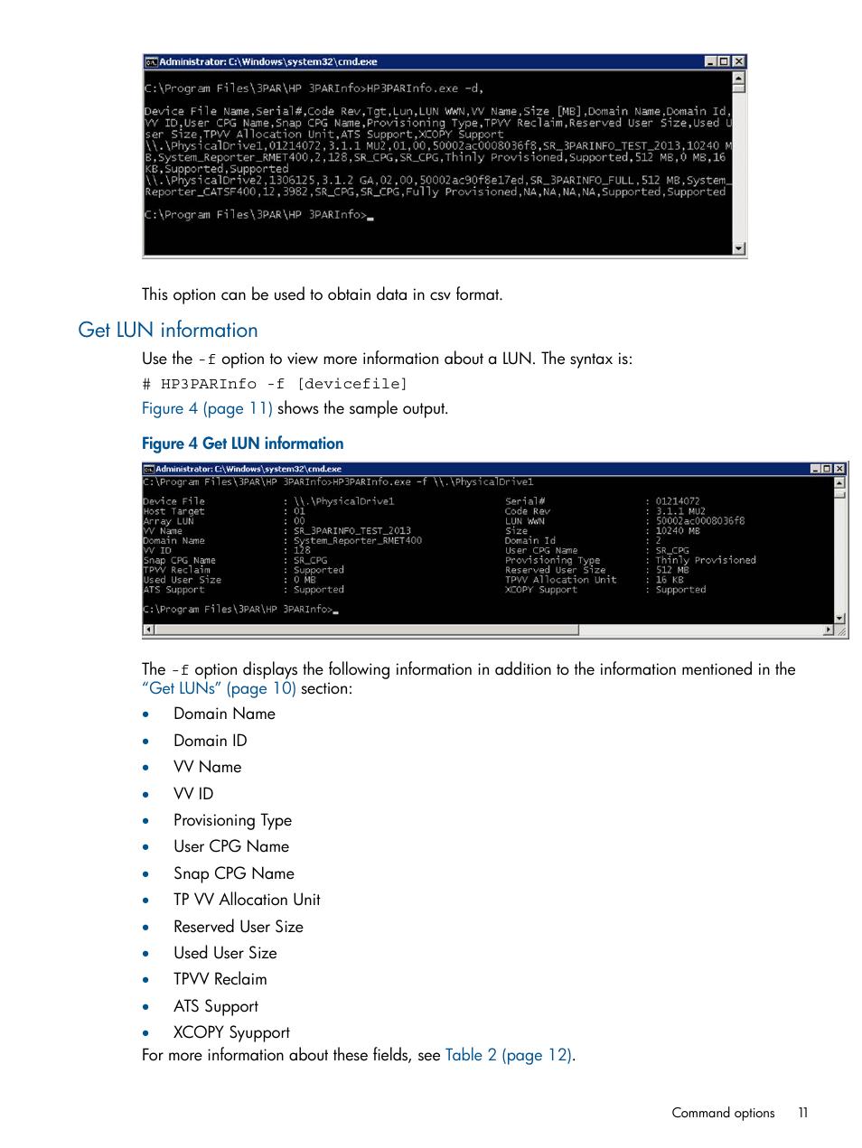 Get lun information   HP 3PAR System Reporter Software