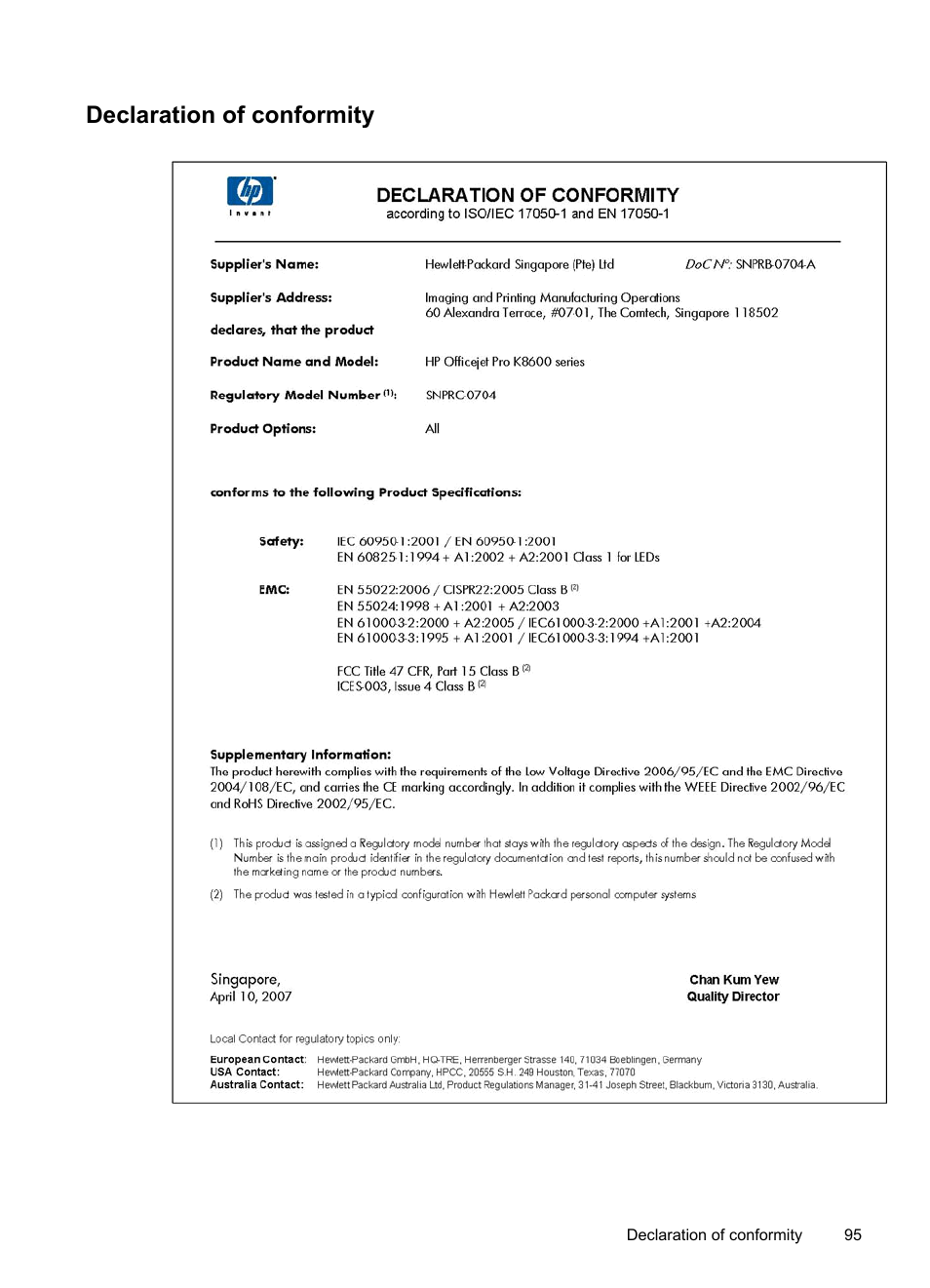 Declaration of conformity | HP Officejet Pro K8600 Printer User Manual |  Page 99 / 108