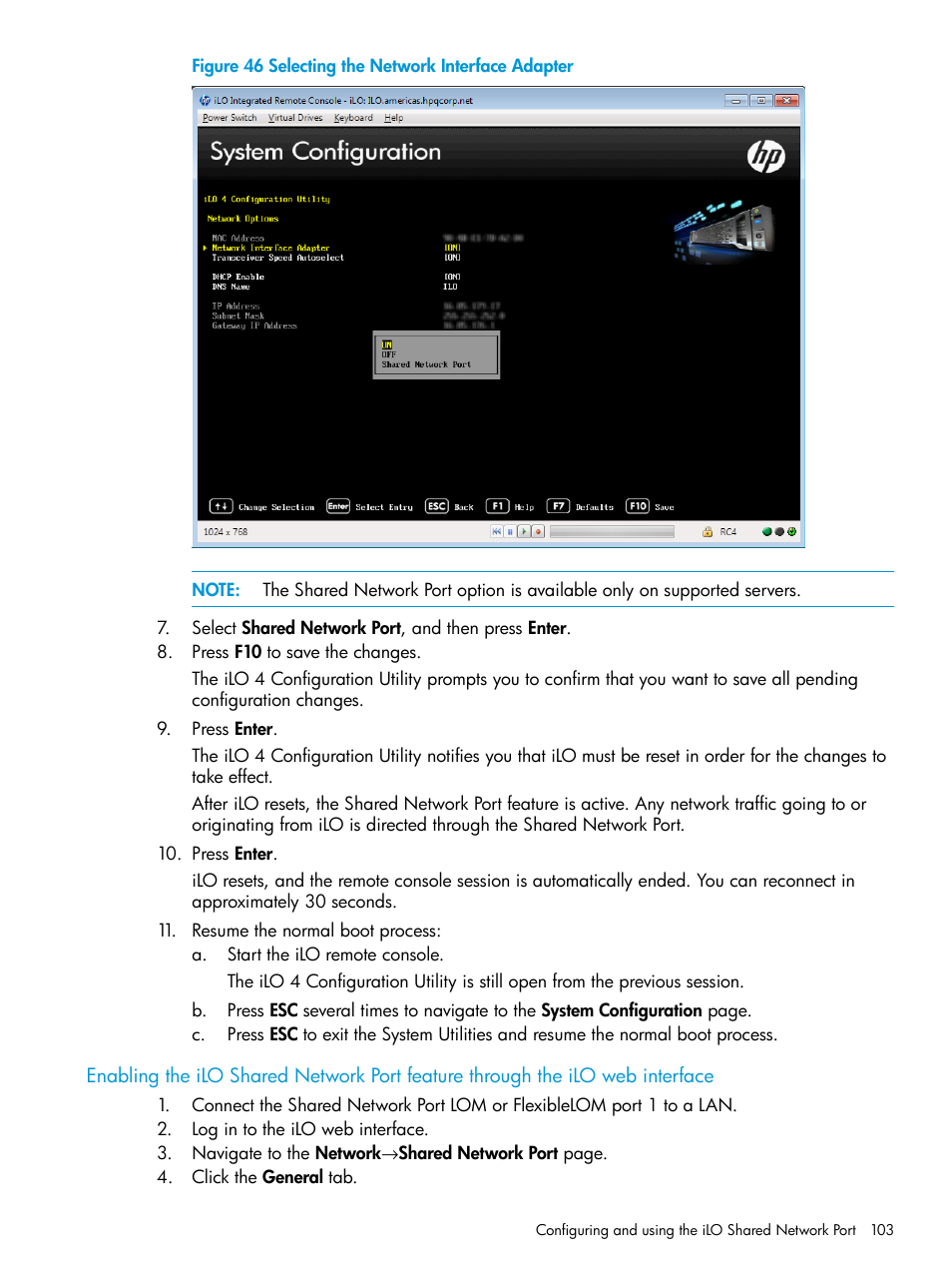 Enabling the ilo shared network port feature | HP Integrated