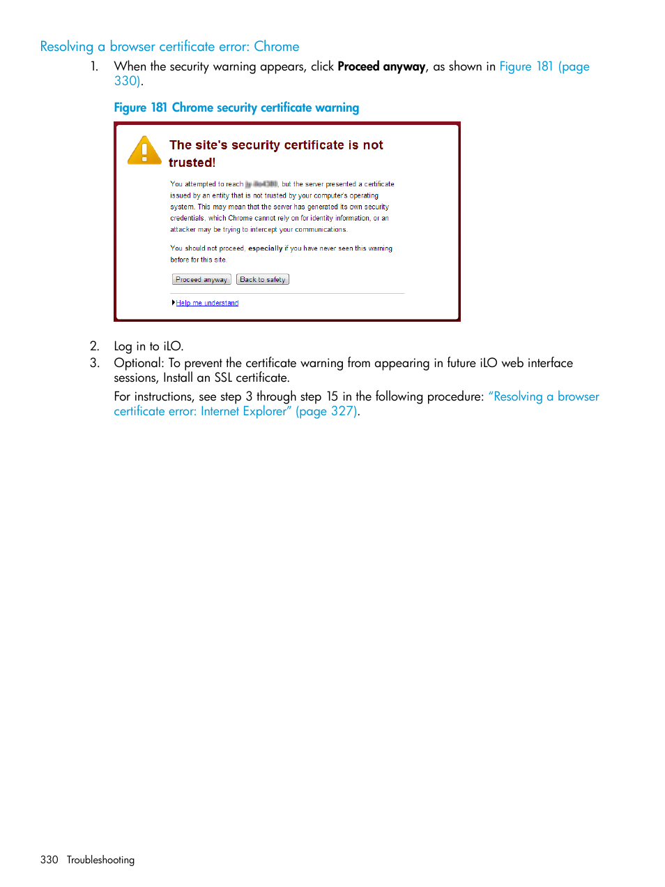 Resolving a browser certificate error: chrome | HP