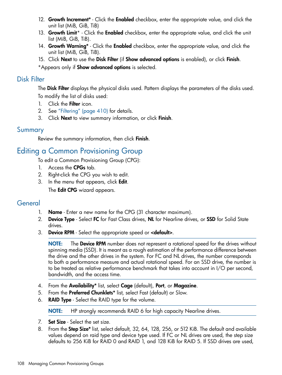 Disk filter, Summary, Editing a common provisioning group | HP 3PAR