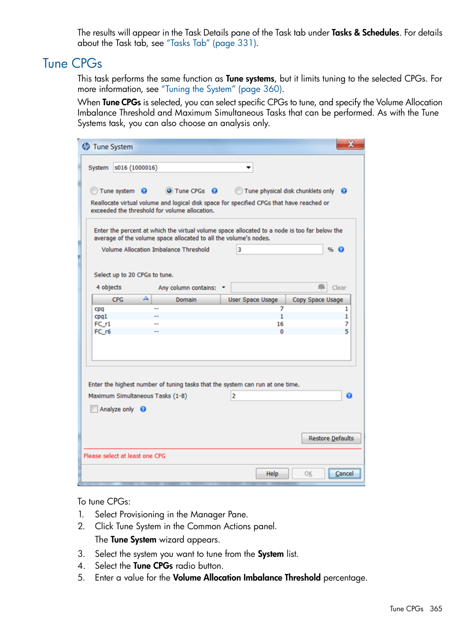 Tune cpgs | HP 3PAR Operating System Software User Manual | Page 365