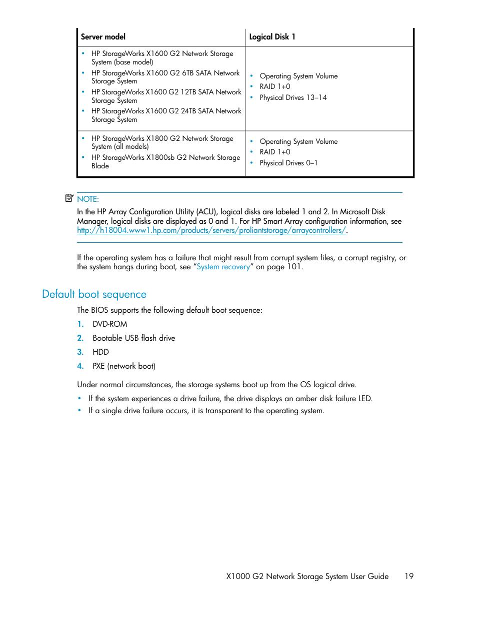 Default boot sequence | HP StoreEasy 1000 Storage User