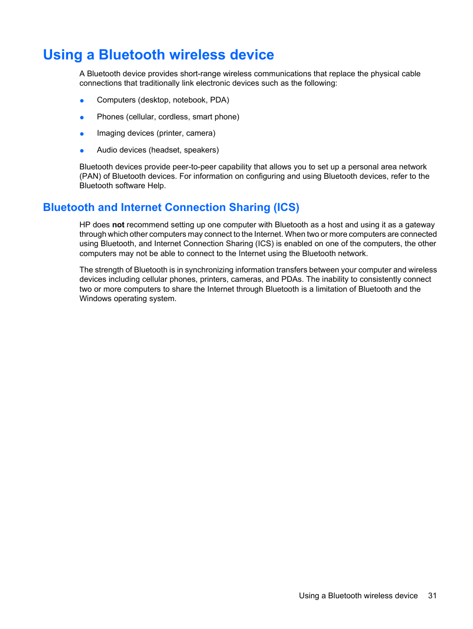 Using a bluetooth wireless device, Bluetooth and internet connection  sharing (ics) | HP ProBook 6450b Notebook-PC User Manual | Page 41 / 181