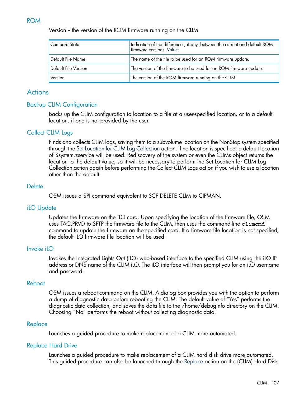 Actions, Backup clim configuration, Collect clim logs | HP