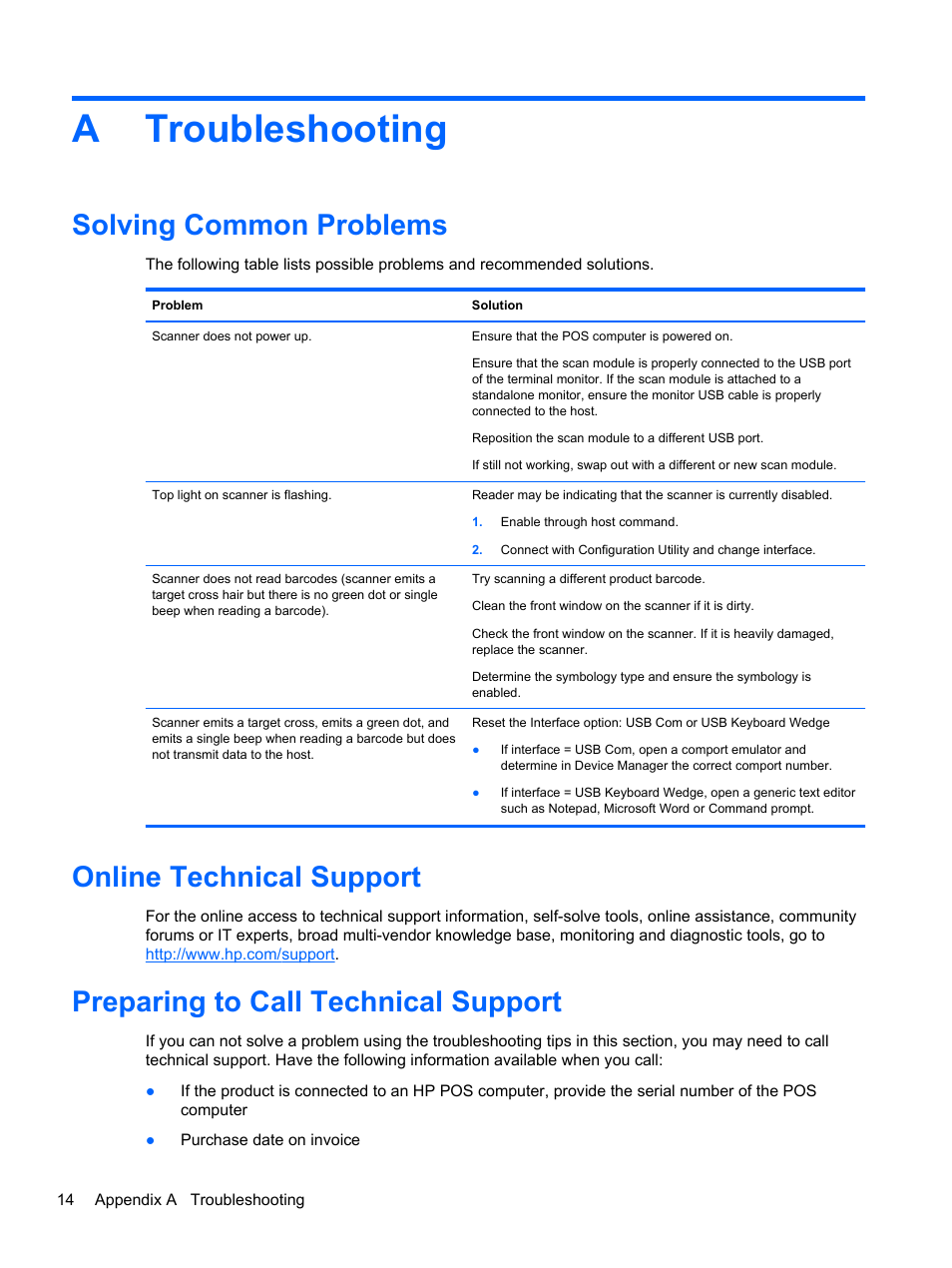 Troubleshooting, Solving common problems, Online technical support