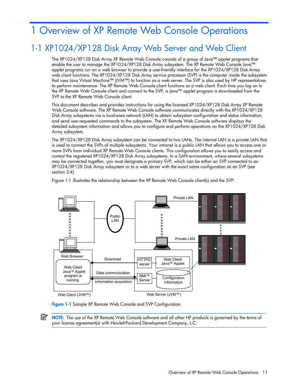 1 overview of xp remote web console operations | HP StorageWorks XP Remote  Web Console Software User Manual | Page 11 / 100