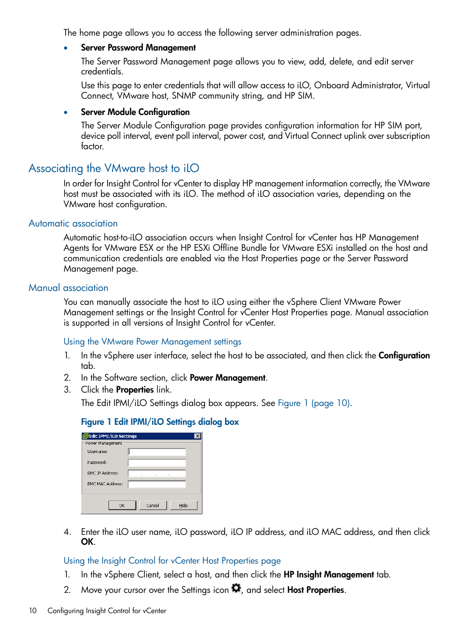 Associating the vmware host to ilo, Automatic association, Manual