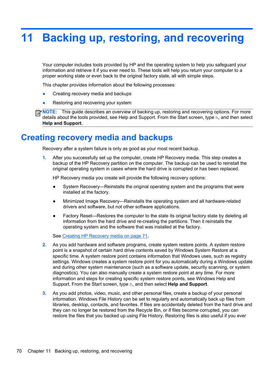 Backing up, restoring, and recovering, Creating recovery