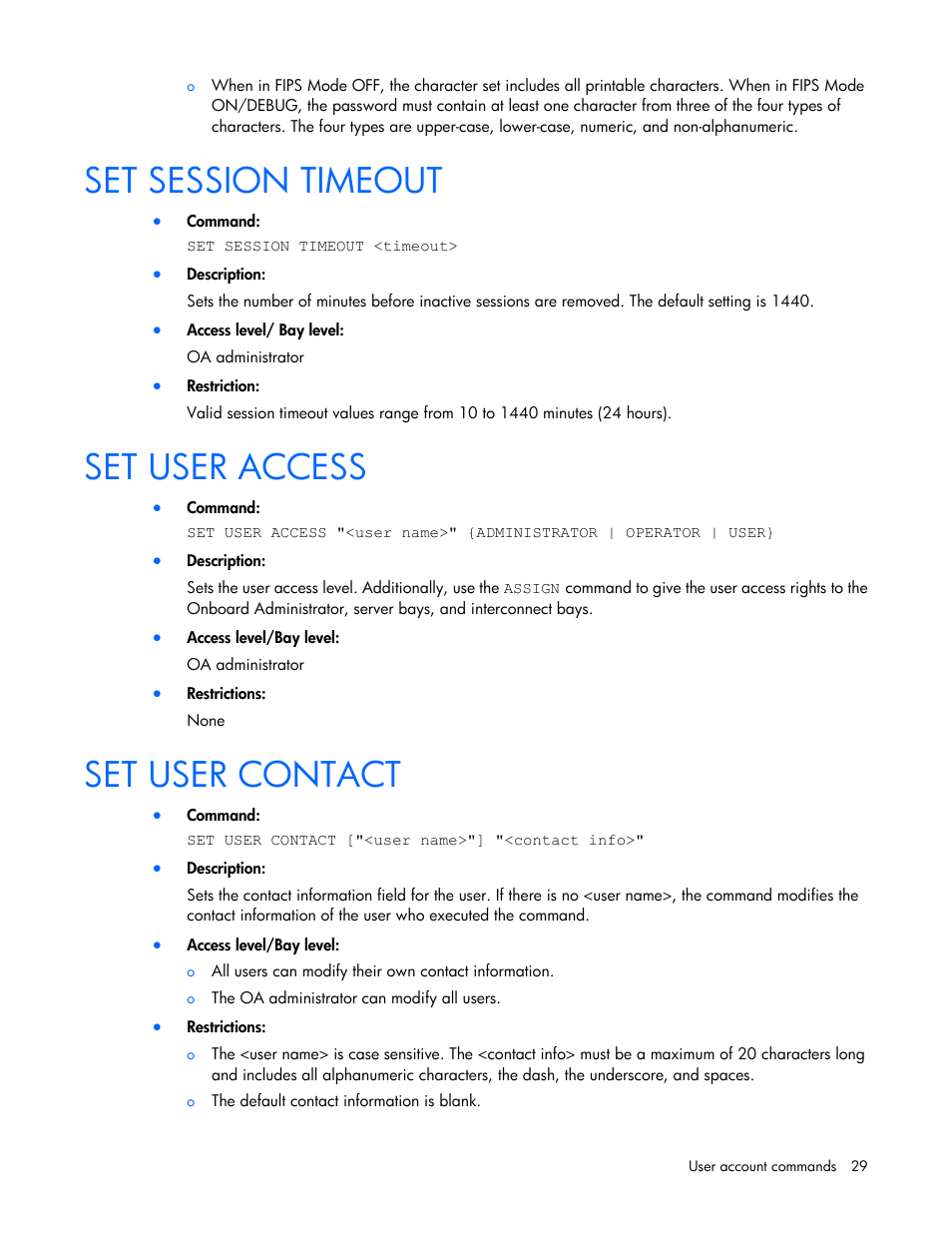 Set session timeout, Set user access, Set user contact | HP