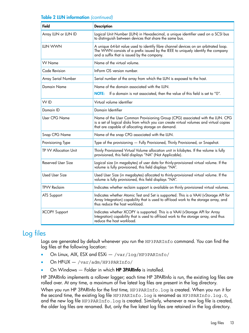 Log files | HP 3PAR System Reporter Software User Manual | Page 13