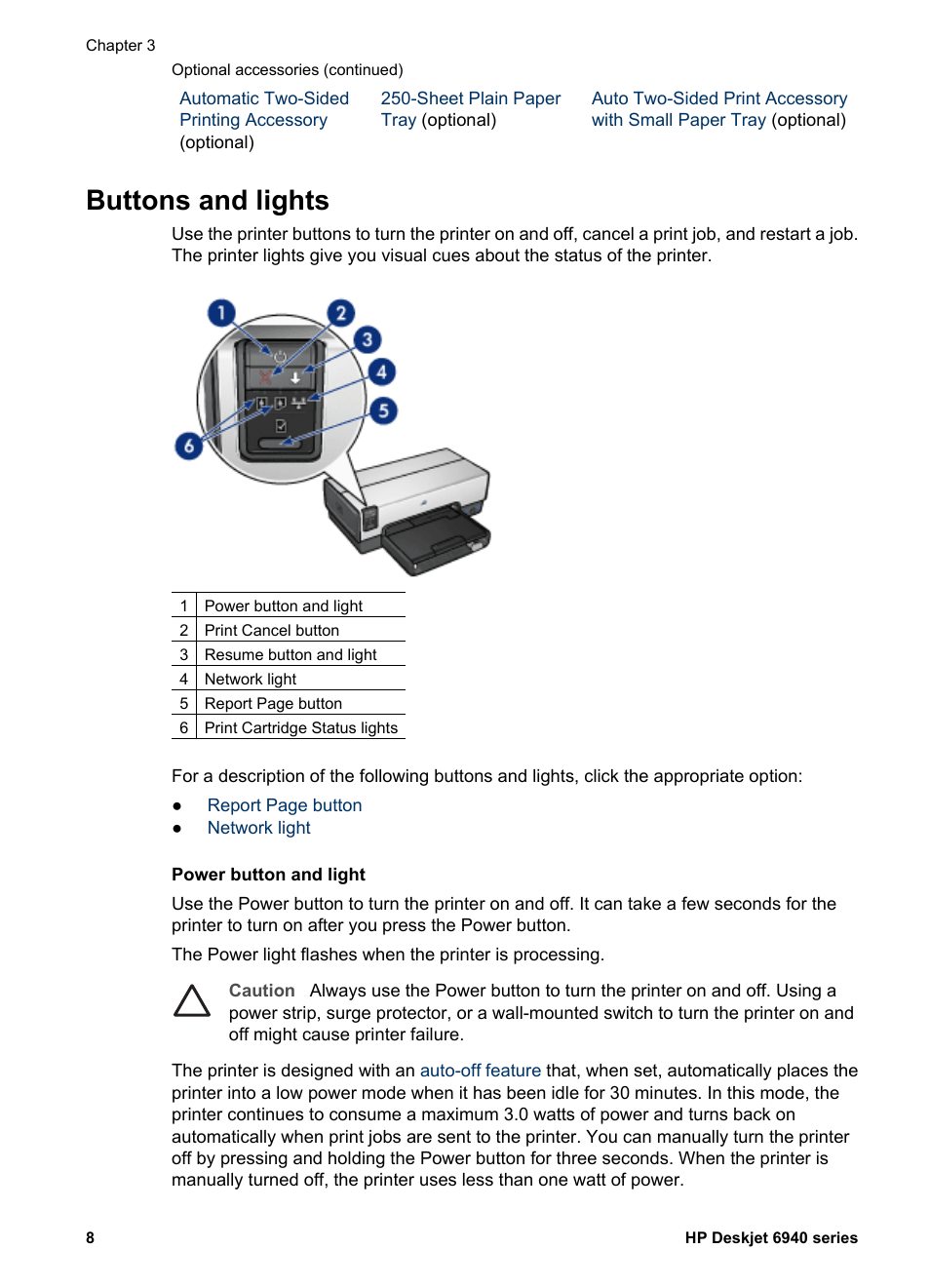 Buttons And Lights Button Hp Deskjet 6940 User Manual