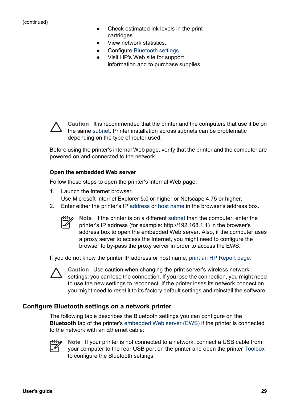 Configure bluetooth settings on a network printer | HP