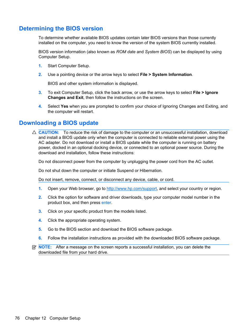 Determining the bios version, Downloading a bios update | HP