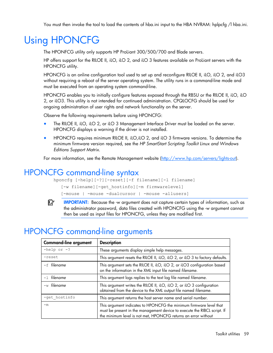 using hponcfg hponcfg command line syntax hponcfg command line rh manualsdir com  hp smartstart scripting toolkit windows edition user guide