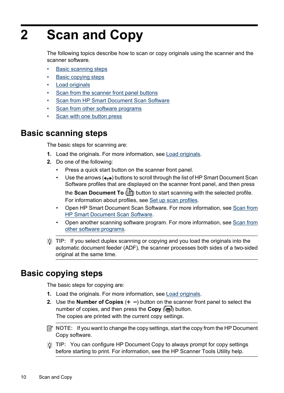 Scan and copy, Basic scanning steps, Basic copying steps | HP