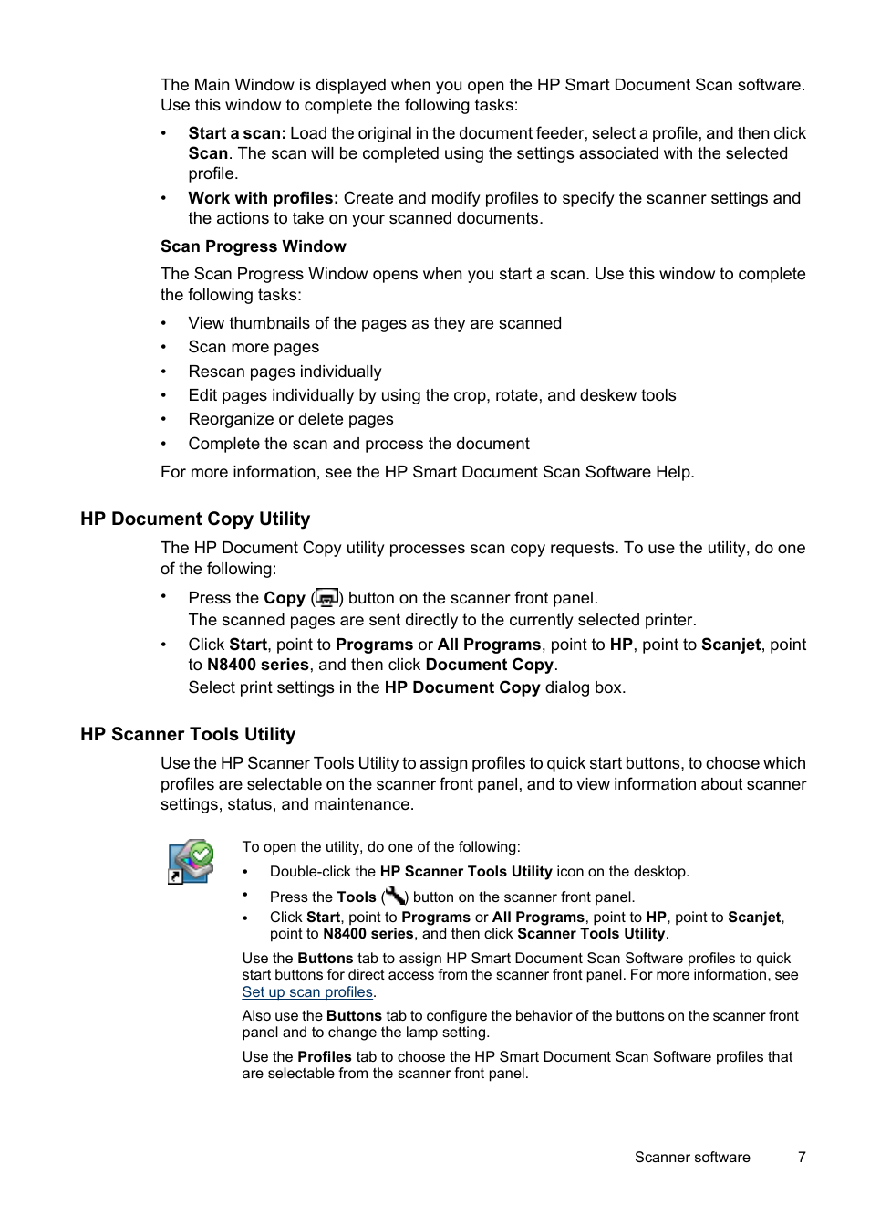 Hp document copy utility, Hp scanner tools utility | HP Scanjet