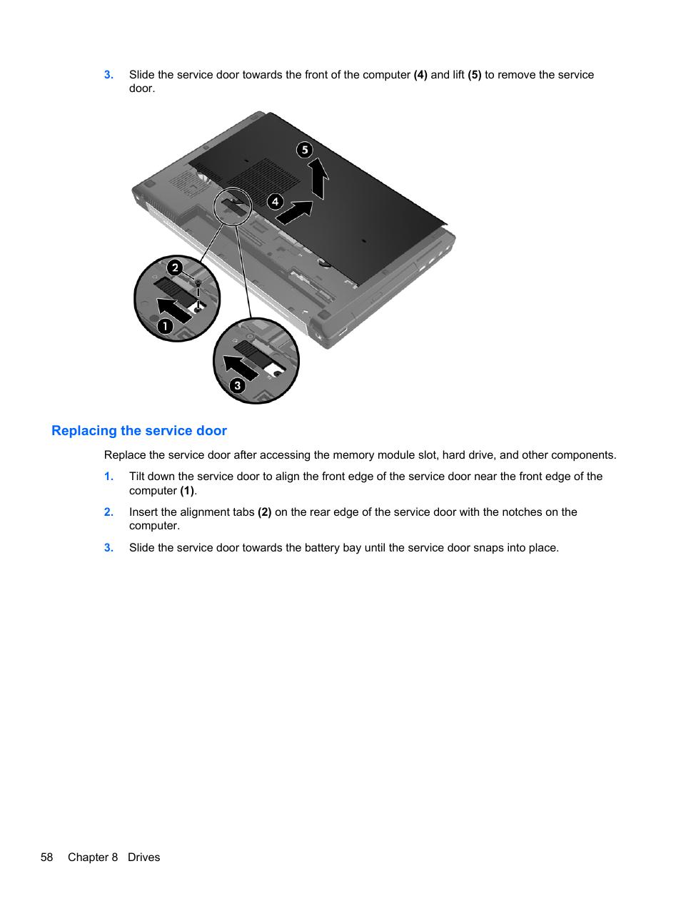 Replacing the service door | HP EliteBook 8770w Mobile Workstation User  Manual | Page 70 / 128