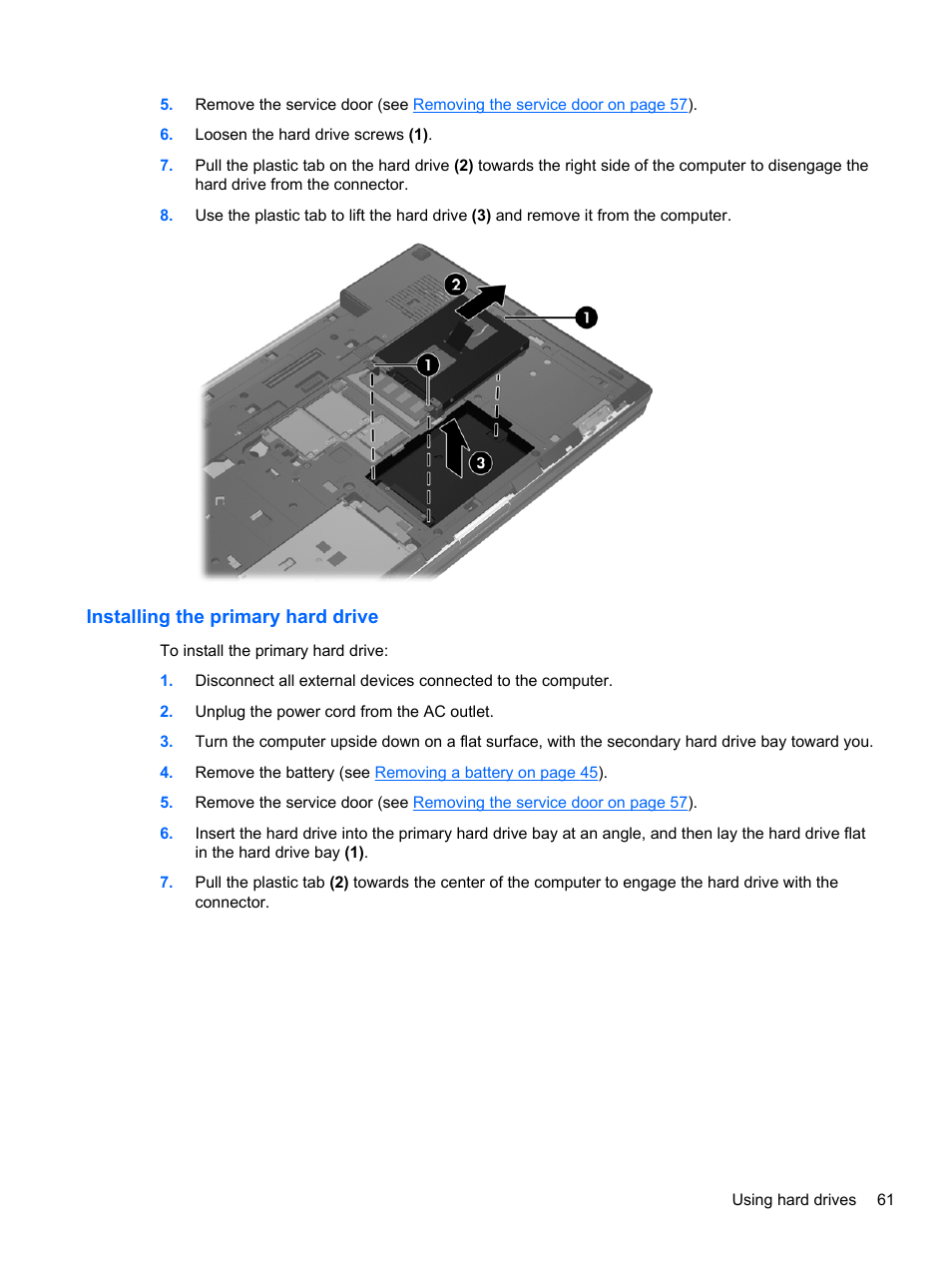 Installing the primary hard drive | HP EliteBook 8770w Mobile Workstation  User Manual | Page 73 / 128