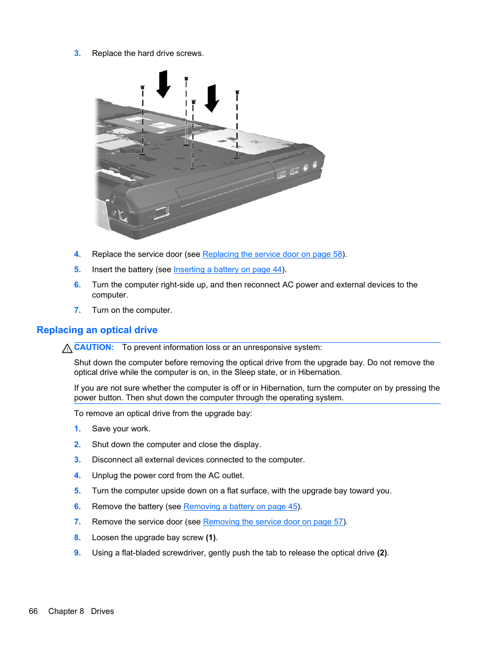 Replacing an optical drive | HP EliteBook 8770w Mobile Workstation User  Manual | Page 78 / 128