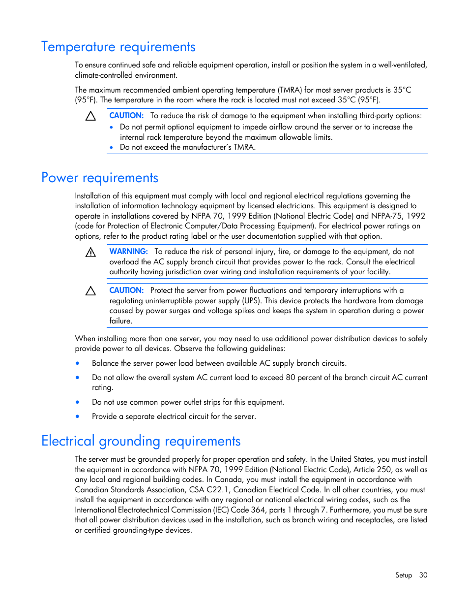 Temperature requirements, Power requirements, Electrical grounding ...