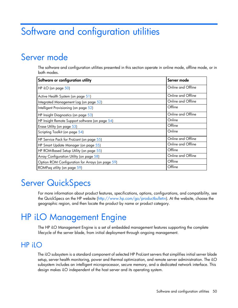 Software and configuration utilities, Server mode, Server
