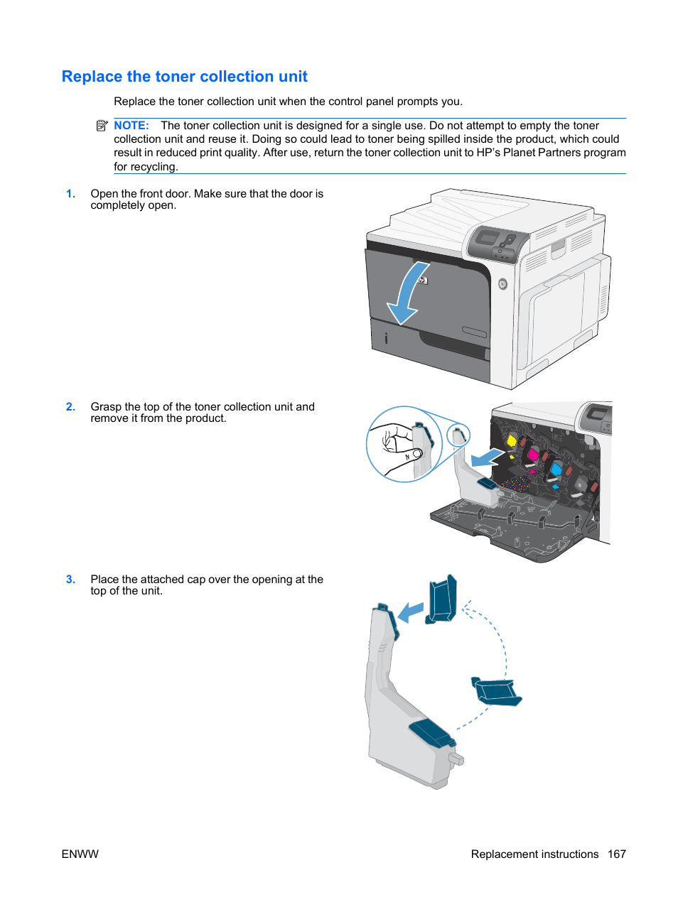 Replace the toner collection unit | HP Color LaserJet Enterprise CP4525  Printer series User Manual | Page 181 / 282