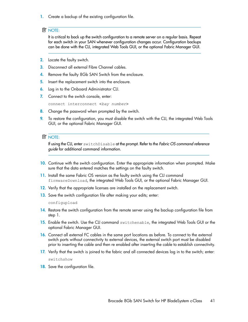 HP Brocade 8Gb SAN Switch for HP BladeSystem c-Class User Manual