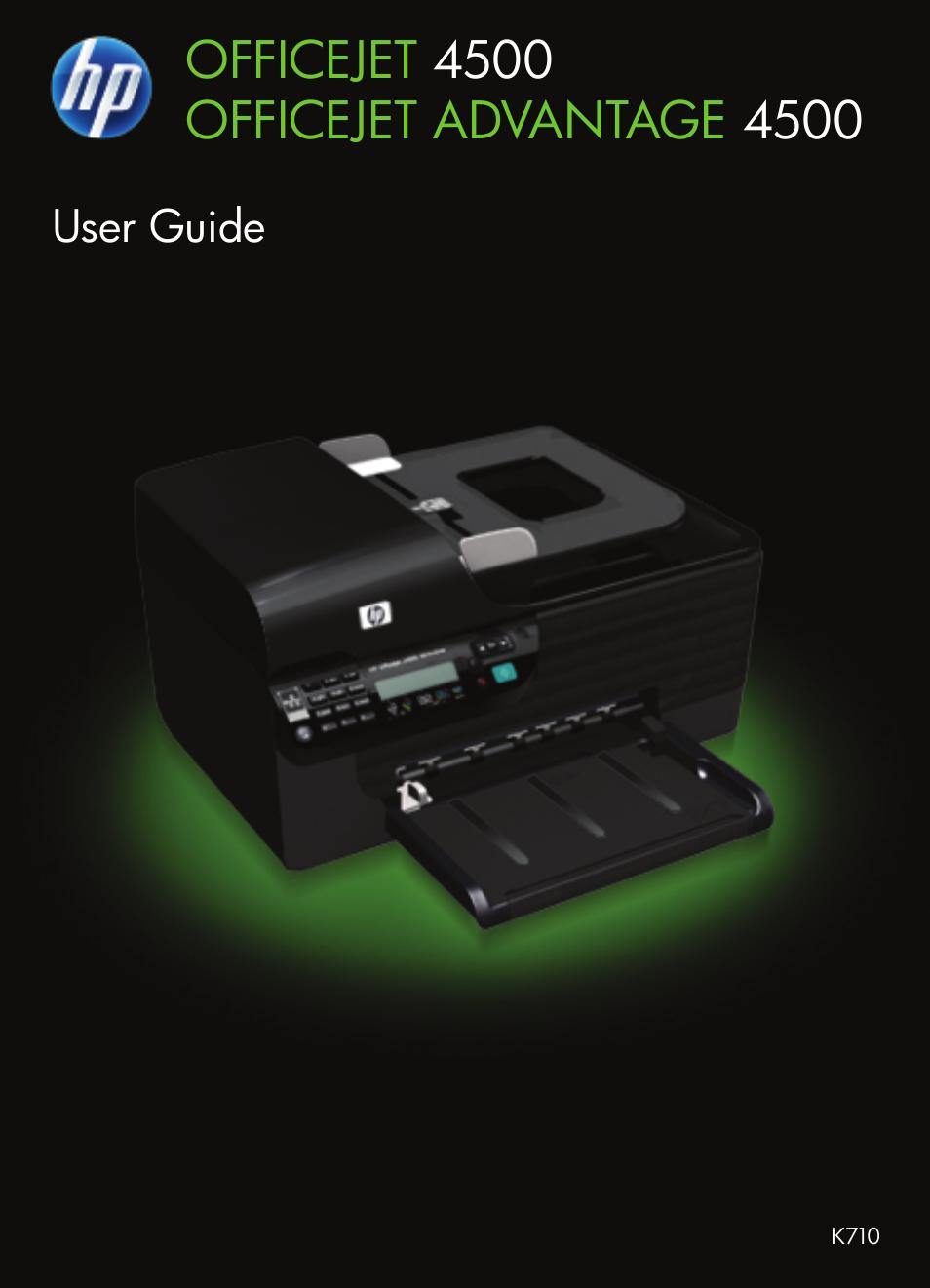 HP OFFICEJET 4500 User Manual | 228 pages | Also for: Officejet 4575  (K710a), Officejet Advantage 4500 (K710)