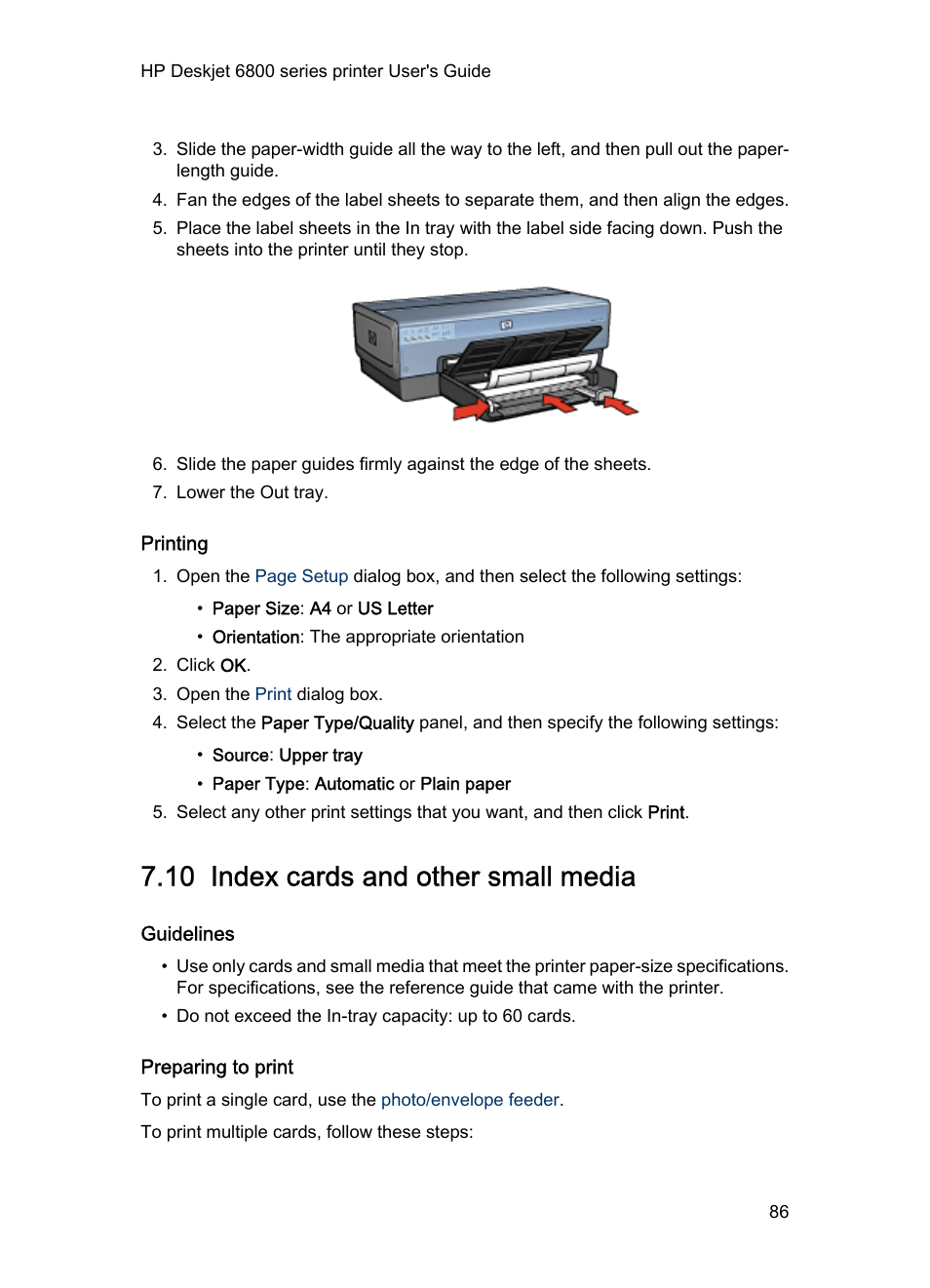 Printing, 10 index cards and other small media, Guidelines