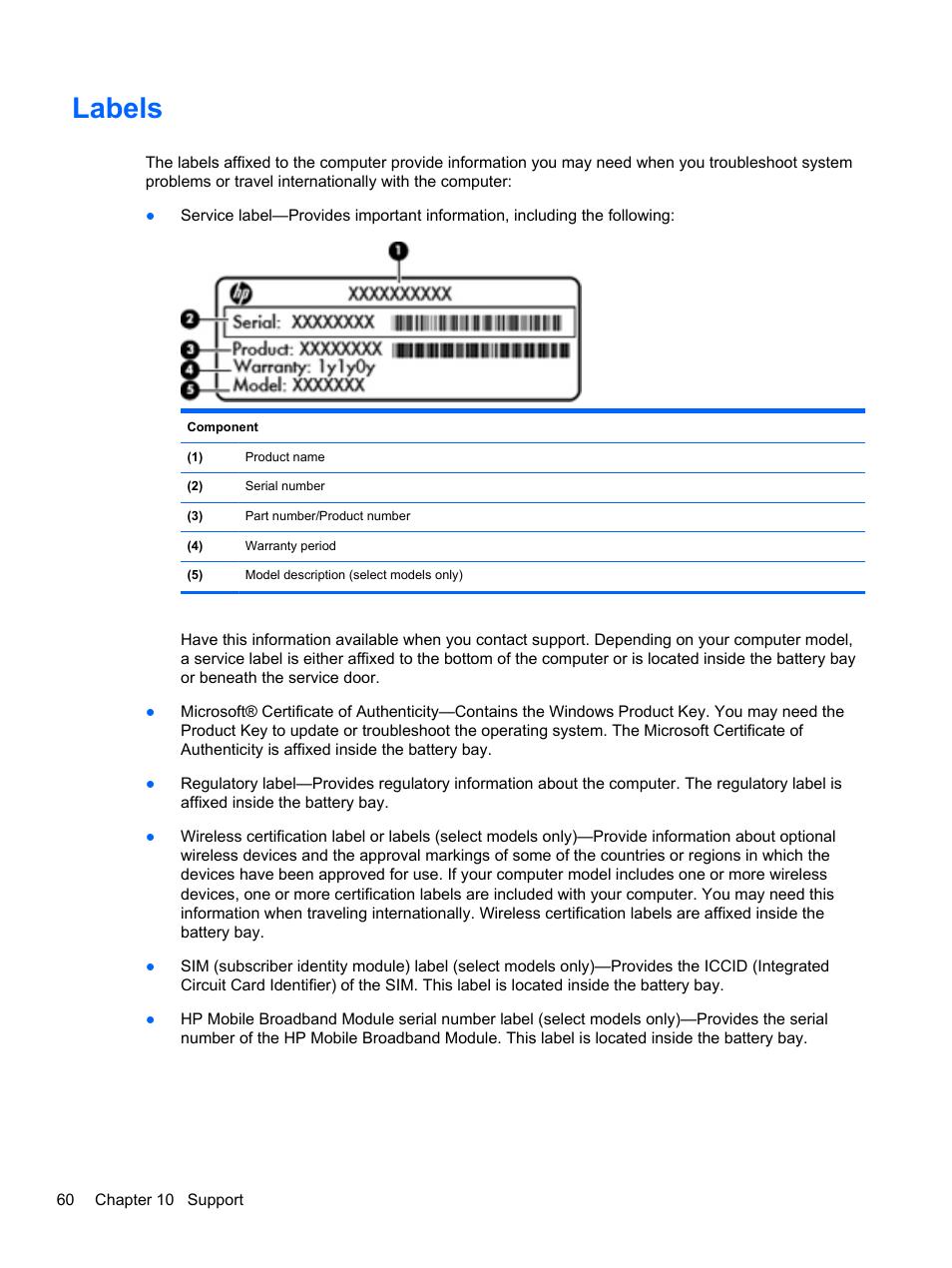 Labels | HP EliteBook Revolve 810 G2 Tablet User Manual | Page 68 / 73