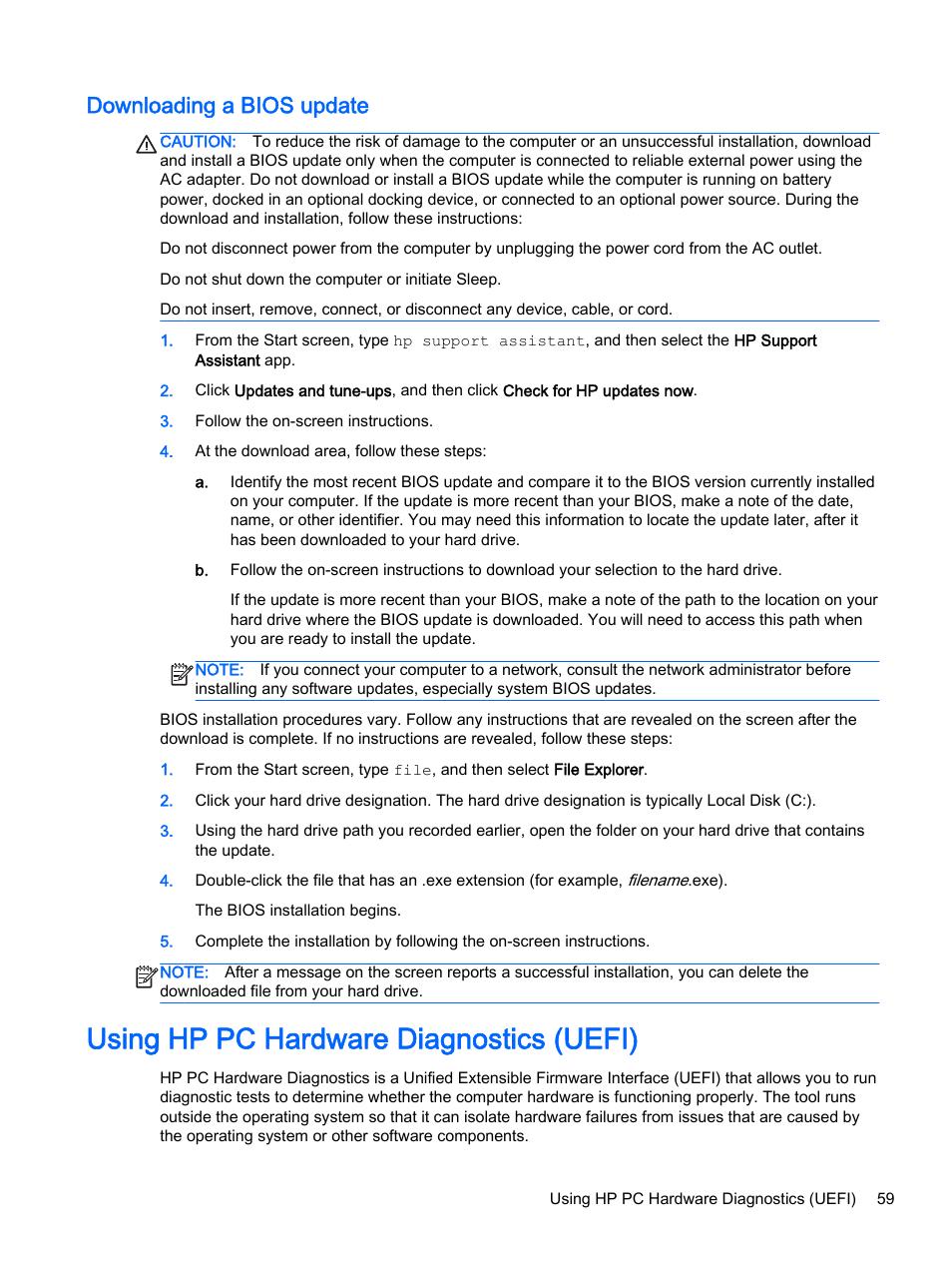 Downloading a bios update, Using hp pc hardware diagnostics (uefi