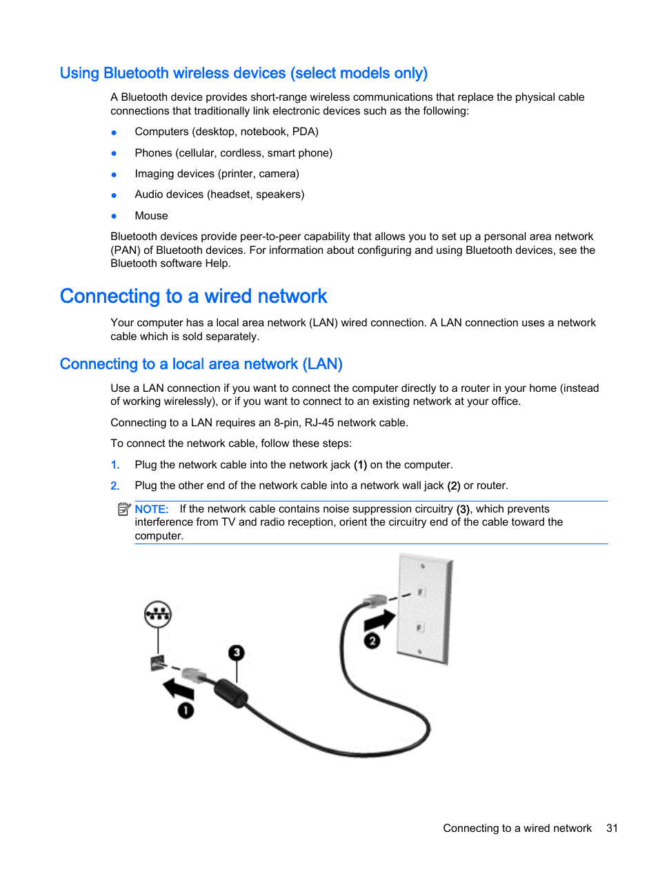 Connecting to a wired network, Connecting to a local area network