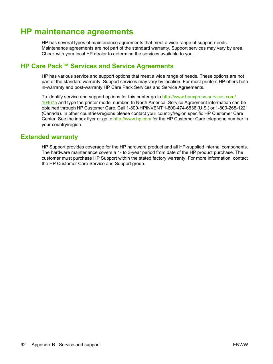 Hp maintenance agreements, Hp care pack™ services and service agreements,  Extended warranty | HP Color LaserJet CP1215 Printer User Manual | Page 100  / 122