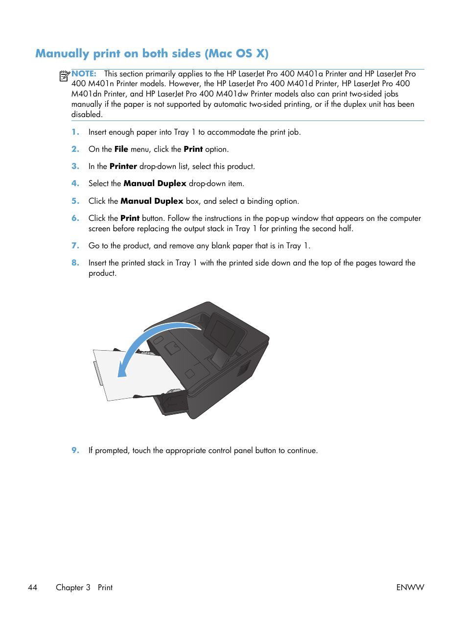 Manually print on both sides (mac os x)   HP LaserJet Pro 400 Printer