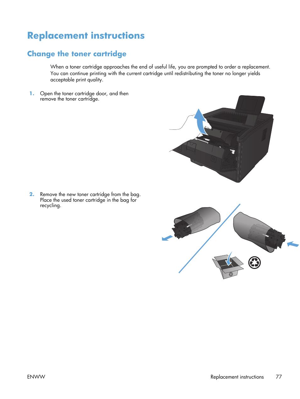 Replacement instructions, Change the toner cartridge | HP LaserJet Pro 400  Printer M401 series User