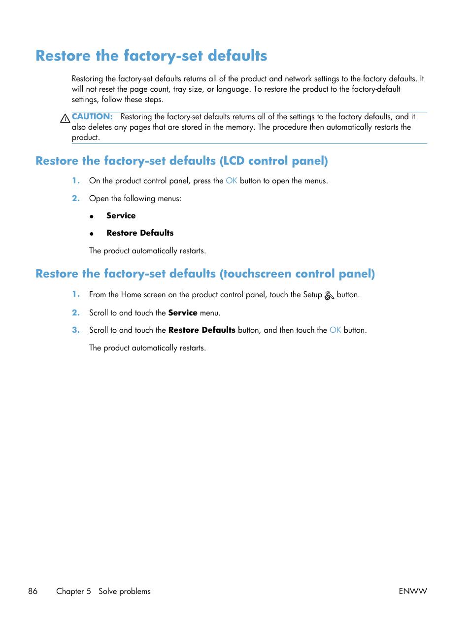 Restore the factory-set defaults   HP LaserJet Pro 400 Printer M401 series  User Manual