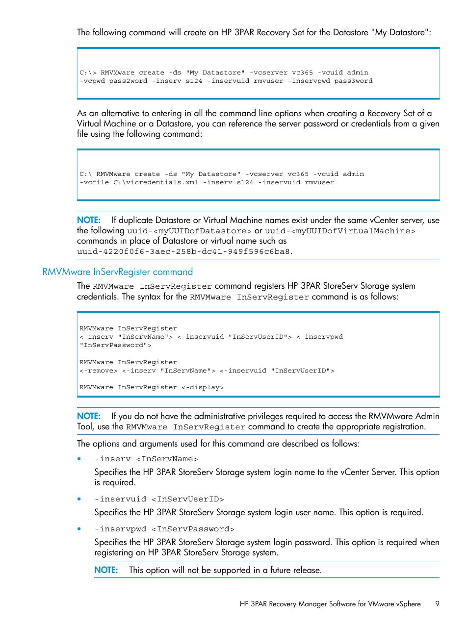 Rmvmware inservregister command | HP 3PAR Application