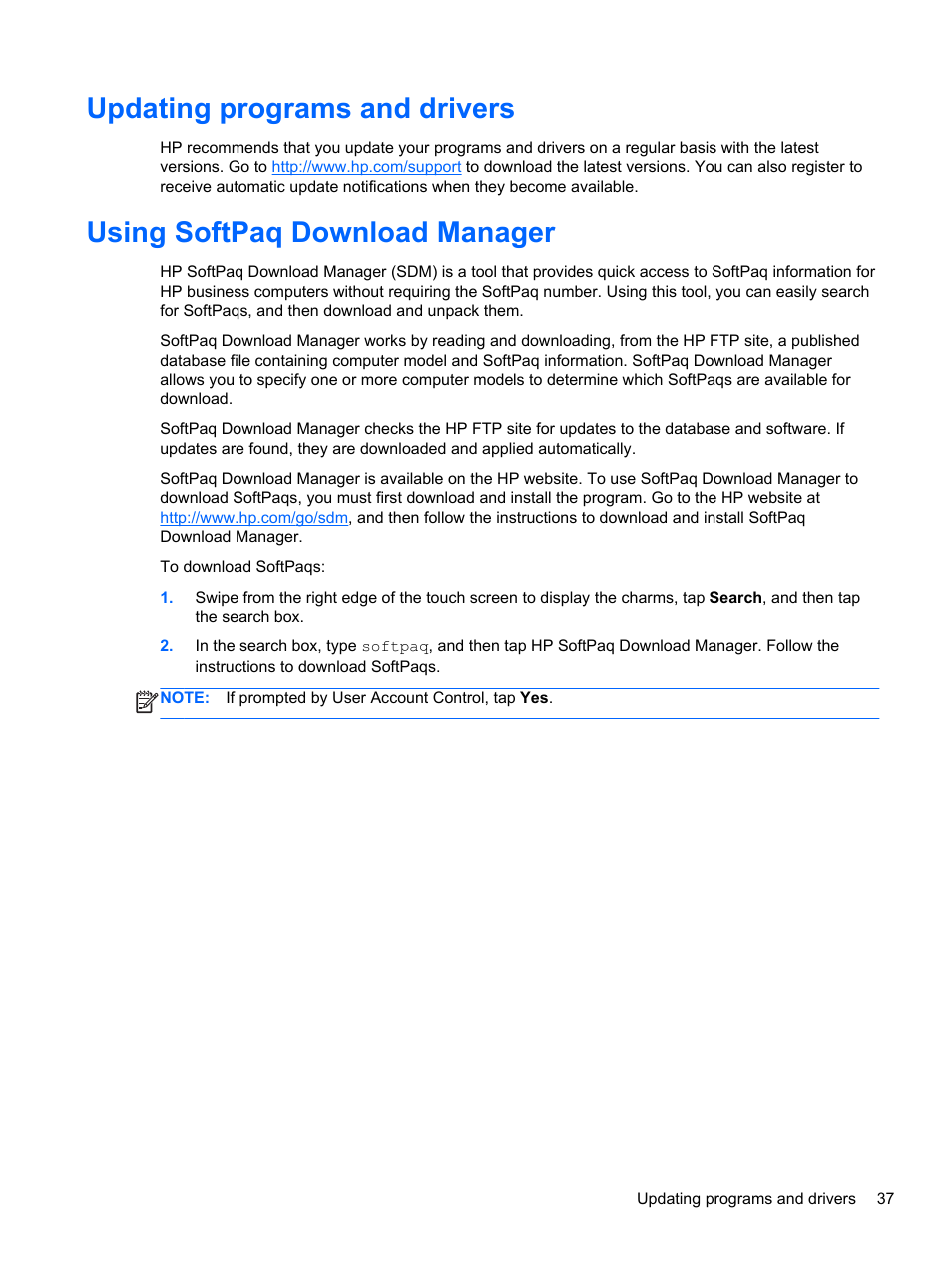Updating programs and drivers, Using softpaq download manager | HP