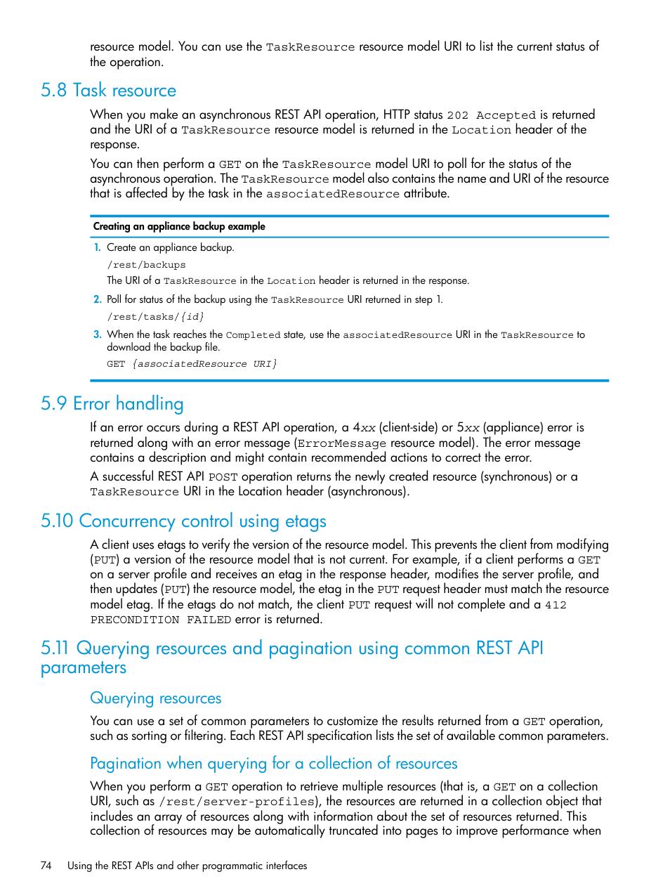8 task resource, 9 error handling, 10 concurrency control using