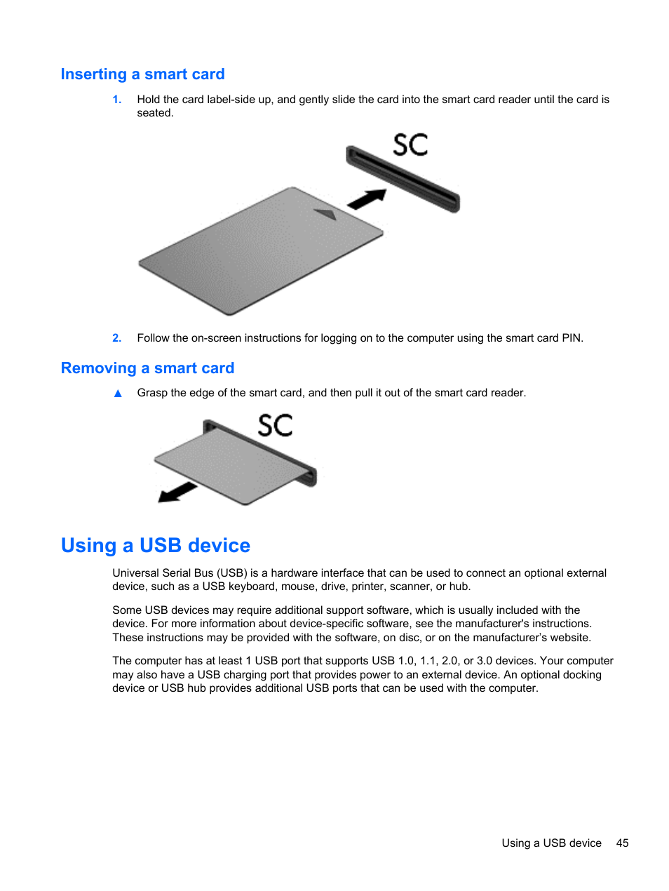 Inserting A Smart Card Removing Using Usb Device Nikon D40 Cable Schematic Hp Elitebook 840 G1 Notebook Pc User Manual Page 55 108