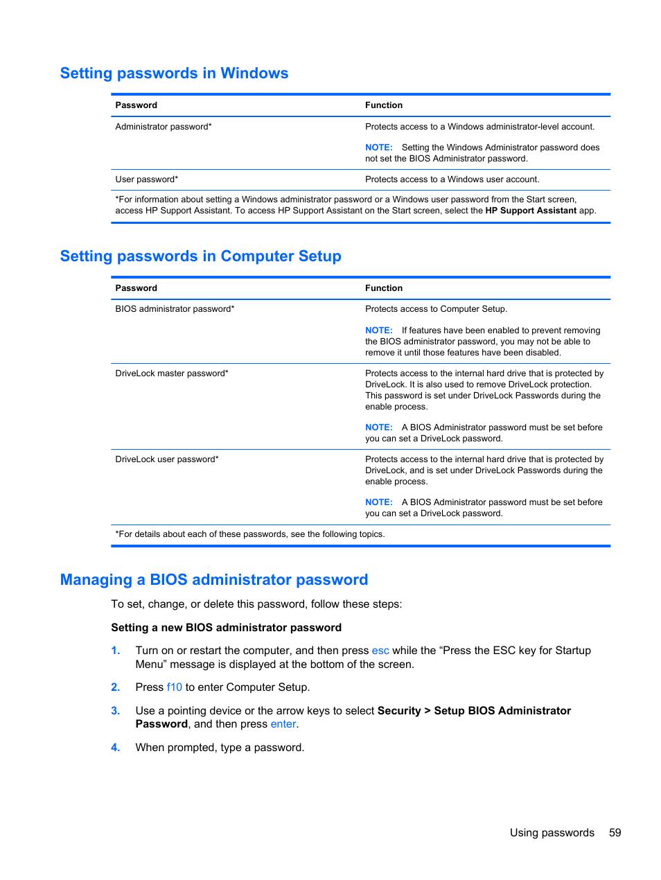 Setting passwords in windows, Setting passwords in computer