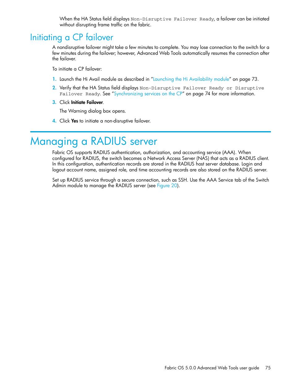 Initiating a cp failover, Managing a radius server   HP