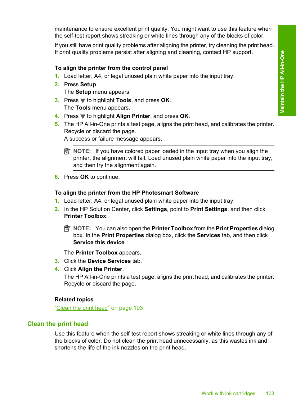 Clean the print head | HP Photosmart C6280 All-in-One Printer User Manual